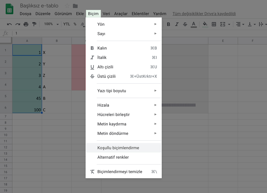 Conditional Formatting - Google Sheets